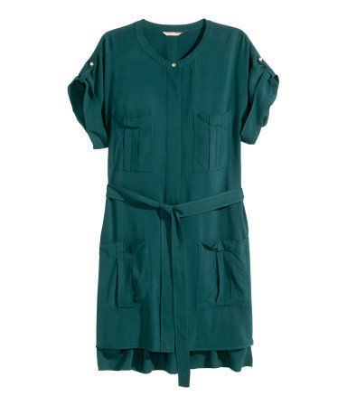 + Shirt Dress - style: shirt; length: mid thigh; neckline: round neck; fit: fitted at waist; pattern: plain; waist detail: belted waist/tie at waist/drawstring; predominant colour: teal; occasions: casual, creative work; fibres: viscose/rayon - 100%; hip detail: subtle/flattering hip detail; sleeve length: short sleeve; sleeve style: standard; pattern type: fabric; texture group: other - light to midweight; trends: utilitarian chic; season: s/s 2015; wardrobe: highlight