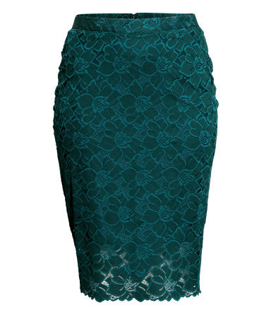 + Pencil Skirt In Lace - pattern: plain; style: pencil; fit: tailored/fitted; waist: high rise; predominant colour: black; occasions: evening, occasion; length: just above the knee; fibres: polyester/polyamide - 100%; waist detail: feature waist detail; texture group: lace; pattern type: fabric; season: s/s 2015; wardrobe: event