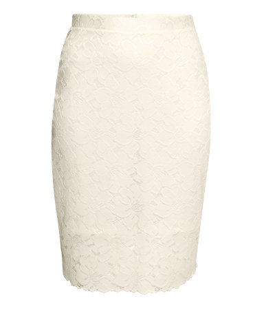 + Pencil Skirt In Lace - style: pencil; fit: tailored/fitted; waist: high rise; predominant colour: ivory/cream; occasions: evening, occasion; length: just above the knee; fibres: polyester/polyamide - 100%; waist detail: feature waist detail; texture group: lace; pattern type: fabric; pattern: patterned/print; season: s/s 2015; wardrobe: event