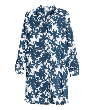 + Patterned Tunic - neckline: shirt collar/peter pan/zip with opening; style: tunic; predominant colour: navy; occasions: casual, creative work; fibres: viscose/rayon - 100%; fit: loose; length: mid thigh; sleeve length: long sleeve; sleeve style: standard; pattern type: fabric; pattern: florals; texture group: other - light to midweight; season: s/s 2015; pattern size: big & busy (top); wardrobe: highlight