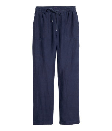 + Trousers In A Linen Blend - length: standard; pattern: plain; waist detail: belted waist/tie at waist/drawstring; waist: mid/regular rise; predominant colour: navy; occasions: casual, creative work; fibres: linen - mix; texture group: linen; fit: wide leg; pattern type: fabric; style: standard; season: s/s 2015; wardrobe: basic
