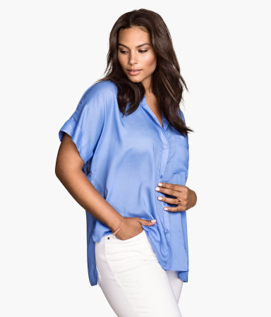 + Short Sleeved Blouse - neckline: shirt collar/peter pan/zip with opening; pattern: plain; style: blouse; predominant colour: pale blue; occasions: casual, creative work; length: standard; fit: loose; sleeve length: short sleeve; sleeve style: standard; pattern type: fabric; texture group: other - light to midweight; season: s/s 2015