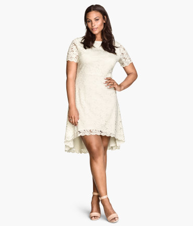 + Lace Dress - length: mid thigh; predominant colour: ivory/cream; occasions: evening, occasion; fit: fitted at waist & bust; style: fit & flare; neckline: crew; back detail: longer hem at back than at front; sleeve length: short sleeve; sleeve style: standard; texture group: lace; pattern type: fabric; pattern: patterned/print; season: s/s 2015; wardrobe: event
