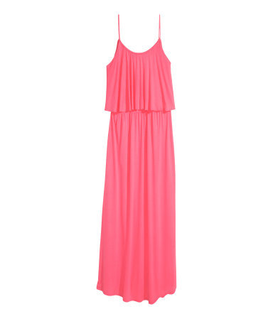 + Maxi Dress - sleeve style: spaghetti straps; fit: loose; pattern: plain; style: maxi dress; length: ankle length; predominant colour: hot pink; occasions: casual, holiday; neckline: scoop; hip detail: soft pleats at hip/draping at hip/flared at hip; sleeve length: sleeveless; bust detail: tiers/frills/bulky drapes/pleats; pattern type: fabric; texture group: jersey - stretchy/drapey; season: s/s 2015; wardrobe: highlight