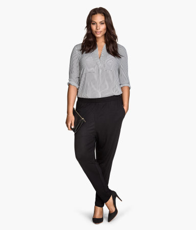 + Jersey Trousers - length: standard; pattern: plain; waist detail: elasticated waist; style: peg leg; waist: mid/regular rise; predominant colour: black; occasions: casual, evening, creative work; fit: tapered; pattern type: fabric; texture group: jersey - stretchy/drapey; season: s/s 2015; wardrobe: basic