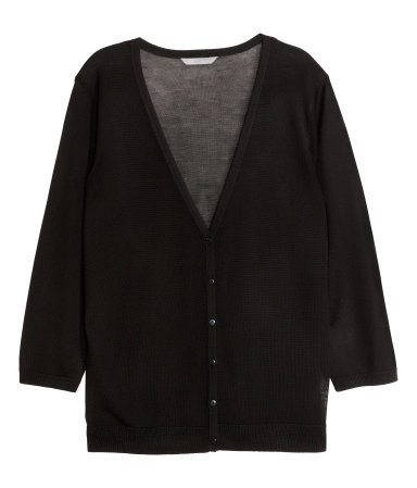+ Cardigan In A Lyocell Mix - neckline: low v-neck; pattern: plain; predominant colour: black; occasions: casual, work, creative work; length: standard; style: standard; fit: standard fit; sleeve length: 3/4 length; sleeve style: standard; texture group: knits/crochet; pattern type: knitted - fine stitch; fibres: viscose/rayon - mix; season: s/s 2015; wardrobe: basic