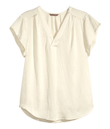 + V Neck Blouse - neckline: v-neck; pattern: plain; style: blouse; predominant colour: ivory/cream; occasions: casual, work, creative work; length: standard; fibres: polyester/polyamide - 100%; fit: straight cut; sleeve length: short sleeve; sleeve style: standard; pattern type: fabric; texture group: other - light to midweight; season: s/s 2015
