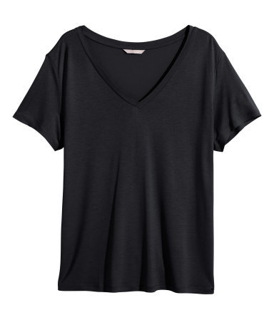 + V Neck T Shirt - neckline: v-neck; pattern: plain; style: t-shirt; predominant colour: black; occasions: casual; length: standard; fibres: cotton - stretch; fit: loose; sleeve length: short sleeve; sleeve style: standard; pattern type: fabric; texture group: jersey - stretchy/drapey; season: s/s 2015; wardrobe: basic