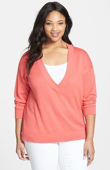 Deep V Neck Organic Cotton Top (Plus Size) - neckline: low v-neck; pattern: plain; style: standard; predominant colour: coral; occasions: casual, creative work; length: standard; fibres: cotton - 100%; fit: standard fit; sleeve length: long sleeve; sleeve style: standard; texture group: knits/crochet; pattern type: knitted - fine stitch; season: s/s 2015; wardrobe: highlight
