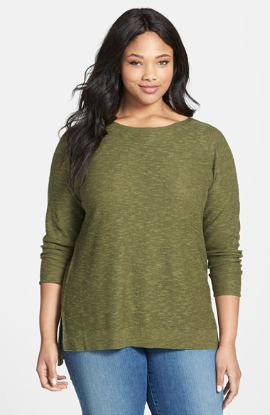 Linen & Cotton Boat Neck Top (Plus Size) - neckline: round neck; pattern: plain; style: standard; predominant colour: khaki; occasions: casual; length: standard; fibres: linen - mix; fit: standard fit; sleeve length: long sleeve; sleeve style: standard; texture group: knits/crochet; pattern type: knitted - fine stitch; season: s/s 2015; wardrobe: basic