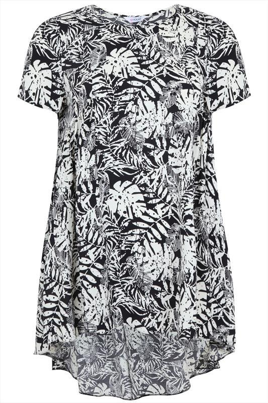 Monochrome Tropical Print Dip Back Tunic - length: below the bottom; style: tunic; secondary colour: white; predominant colour: black; occasions: casual, creative work; fibres: viscose/rayon - 100%; fit: loose; neckline: crew; back detail: longer hem at back than at front; sleeve length: short sleeve; sleeve style: standard; pattern type: fabric; pattern: florals; texture group: other - light to midweight; season: s/s 2015; pattern size: big & busy (top)