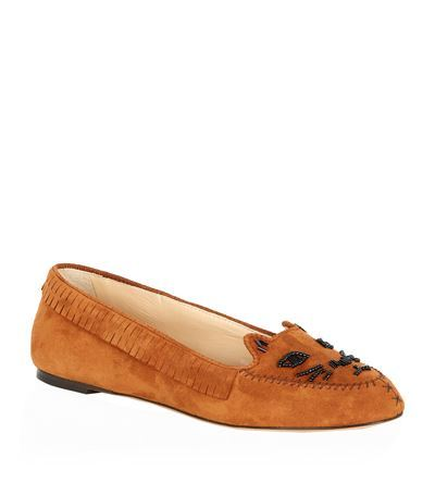 Moccasin Kitty Flats - predominant colour: tan; secondary colour: black; occasions: casual, creative work; material: suede; heel height: flat; embellishment: beading; toe: round toe; style: loafers; finish: plain; pattern: plain; season: s/s 2015; wardrobe: highlight