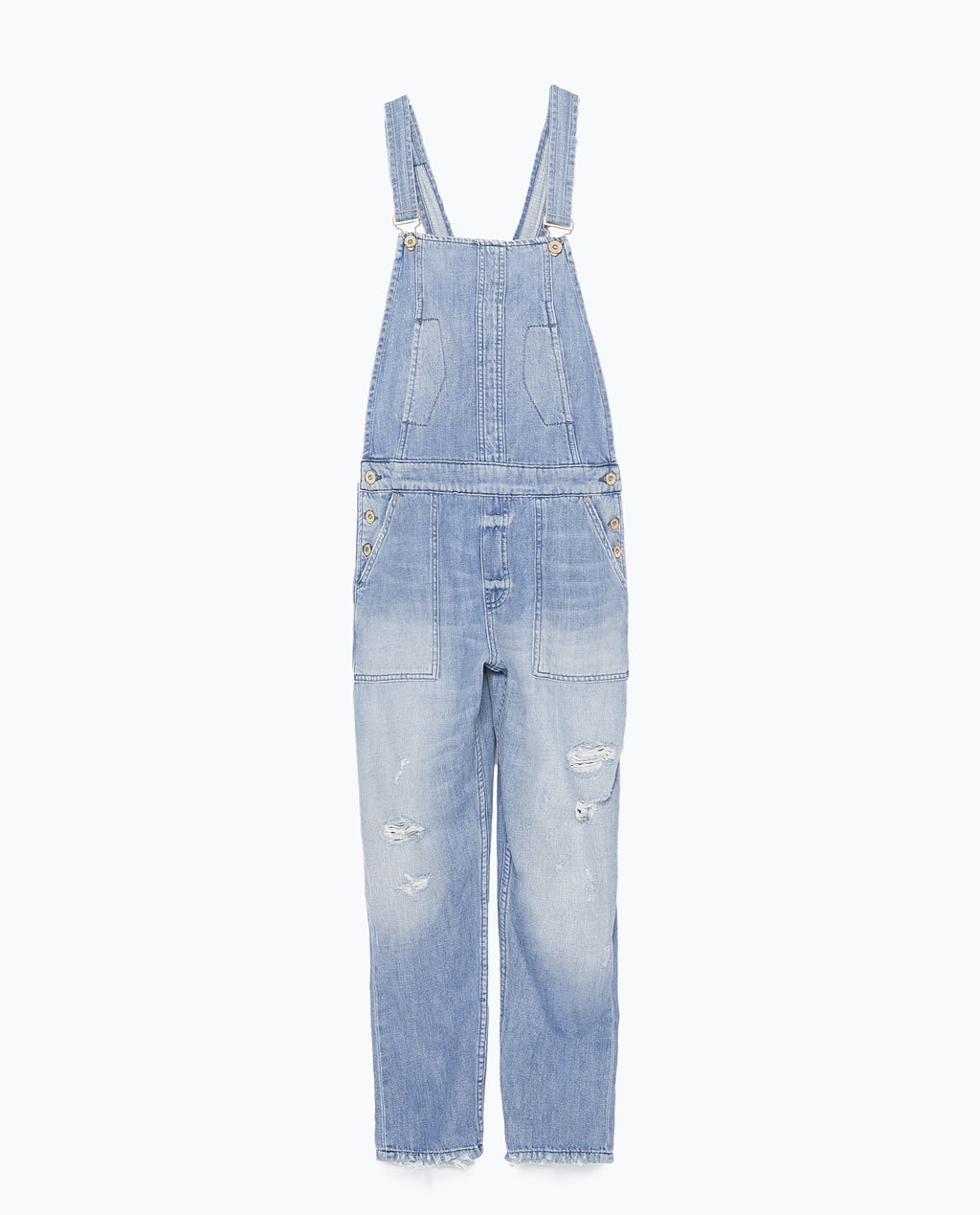 Denim Dungarees - length: standard; sleeve style: standard vest straps/shoulder straps; pattern: plain; back detail: back revealing; predominant colour: pale blue; occasions: casual; fit: straight cut; fibres: cotton - 100%; sleeve length: sleeveless; texture group: denim; style: dungarees; neckline: low square neck; pattern type: fabric; season: s/s 2015; wardrobe: highlight