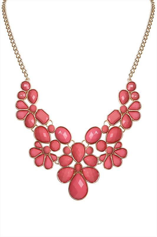 Coral & Gold Beaded Statement Necklace - predominant colour: coral; secondary colour: gold; occasions: evening, occasion; length: mid; size: large/oversized; material: chain/metal; finish: metallic; embellishment: jewels/stone; style: bib/statement; season: s/s 2015; wardrobe: event
