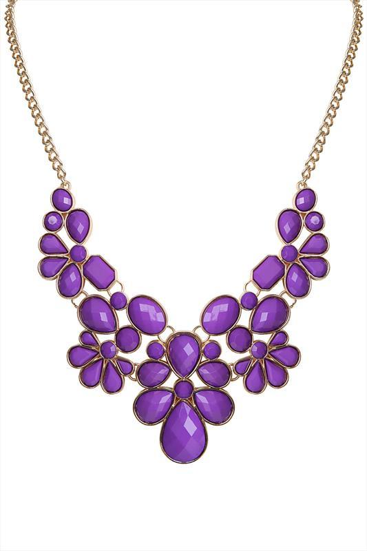 Purple & Gold Beaded Statement Necklace - predominant colour: purple; occasions: evening, occasion; length: mid; size: large/oversized; material: chain/metal; finish: metallic; embellishment: jewels/stone; style: bib/statement; season: s/s 2015; wardrobe: event