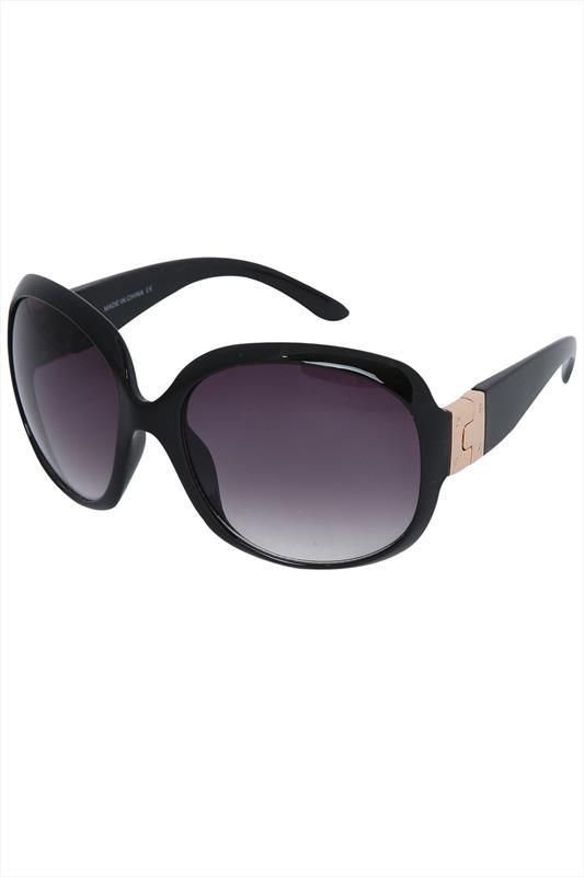 Black Frame Sunglasses With Gold Metal Hinge - predominant colour: black; occasions: casual, holiday; style: square; size: large; material: plastic/rubber; pattern: plain; finish: plain; season: s/s 2015; wardrobe: basic