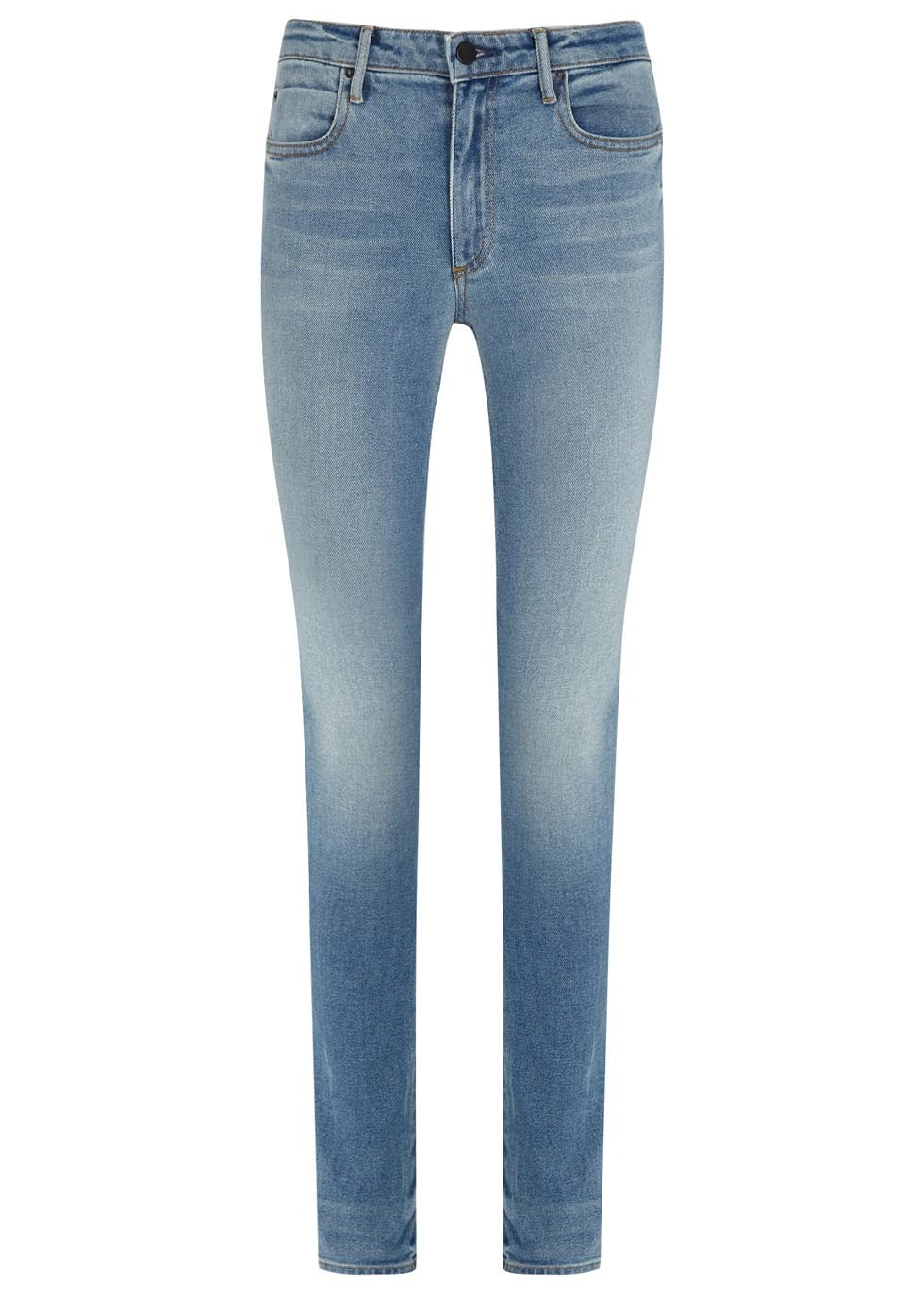 Light Blue Slim Leg Jeans - length: standard; pattern: plain; waist: high rise; pocket detail: traditional 5 pocket; style: slim leg; predominant colour: denim; occasions: casual; fibres: cotton - stretch; jeans detail: whiskering, shading down centre of thigh; texture group: denim; pattern type: fabric; season: s/s 2015; wardrobe: basic