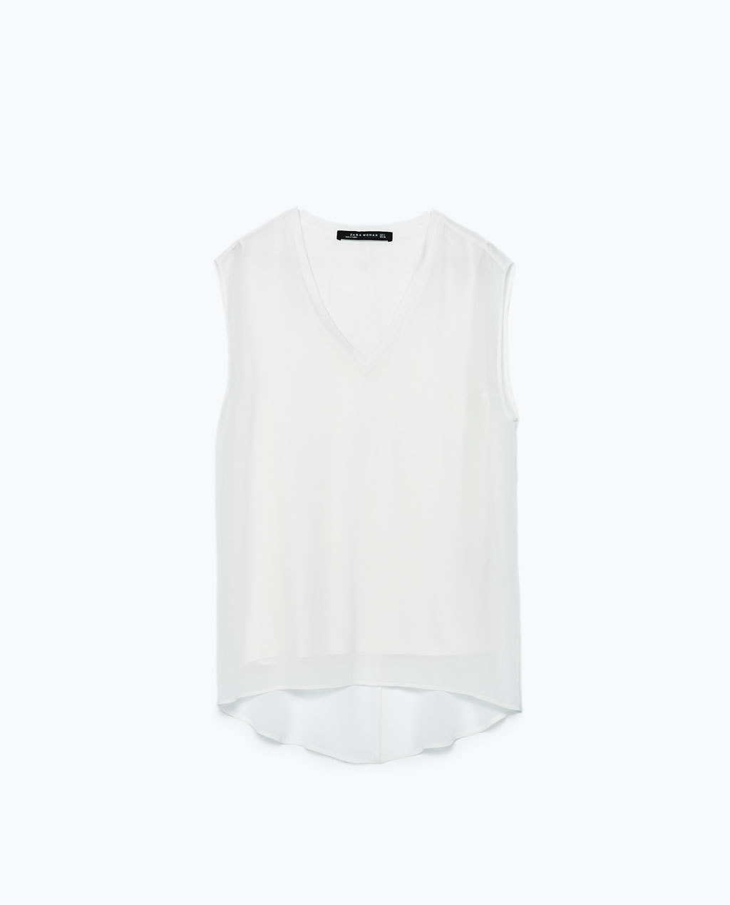 Top With Ribbed Neckline - neckline: v-neck; pattern: plain; sleeve style: sleeveless; style: t-shirt; predominant colour: ivory/cream; occasions: casual, evening, creative work; length: standard; fibres: polyester/polyamide - 100%; fit: straight cut; sleeve length: sleeveless; texture group: crepes; pattern type: fabric; season: s/s 2015; wardrobe: basic