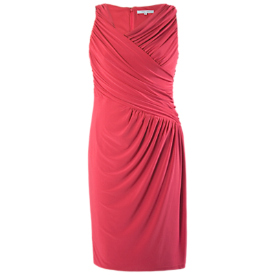 Ruched Dress, Poppy - style: faux wrap/wrap; neckline: low v-neck; pattern: plain; sleeve style: sleeveless; predominant colour: hot pink; length: on the knee; fit: body skimming; fibres: polyester/polyamide - stretch; occasions: occasion; sleeve length: sleeveless; texture group: jersey - clingy; pattern type: fabric; season: s/s 2015; wardrobe: event