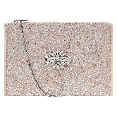 Helena Bejewelled Clutch Bag, Silver - predominant colour: nude; occasions: evening, occasion; style: clutch; length: hand carry; size: standard; material: fabric; embellishment: glitter; pattern: plain; finish: metallic; secondary colour: clear; season: s/s 2015