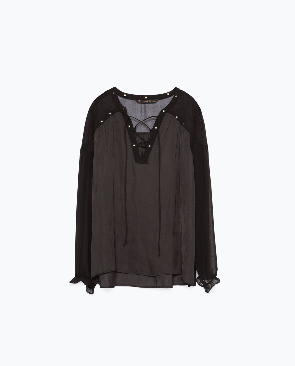 Studded Satin Blouse - neckline: v-neck; pattern: plain; style: blouse; predominant colour: black; occasions: casual, evening; length: standard; fit: loose; sleeve length: long sleeve; sleeve style: standard; texture group: sheer fabrics/chiffon/organza etc.; pattern type: fabric; season: s/s 2015; wardrobe: basic