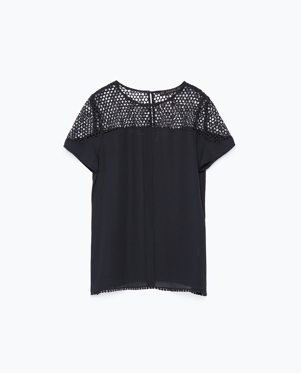 Guipure Lace Top - pattern: plain; predominant colour: stone; occasions: casual, creative work; length: standard; style: top; fit: straight cut; neckline: crew; sleeve length: short sleeve; sleeve style: standard; texture group: crepes; embellishment: lace; shoulder detail: sheer at shoulder; season: s/s 2015