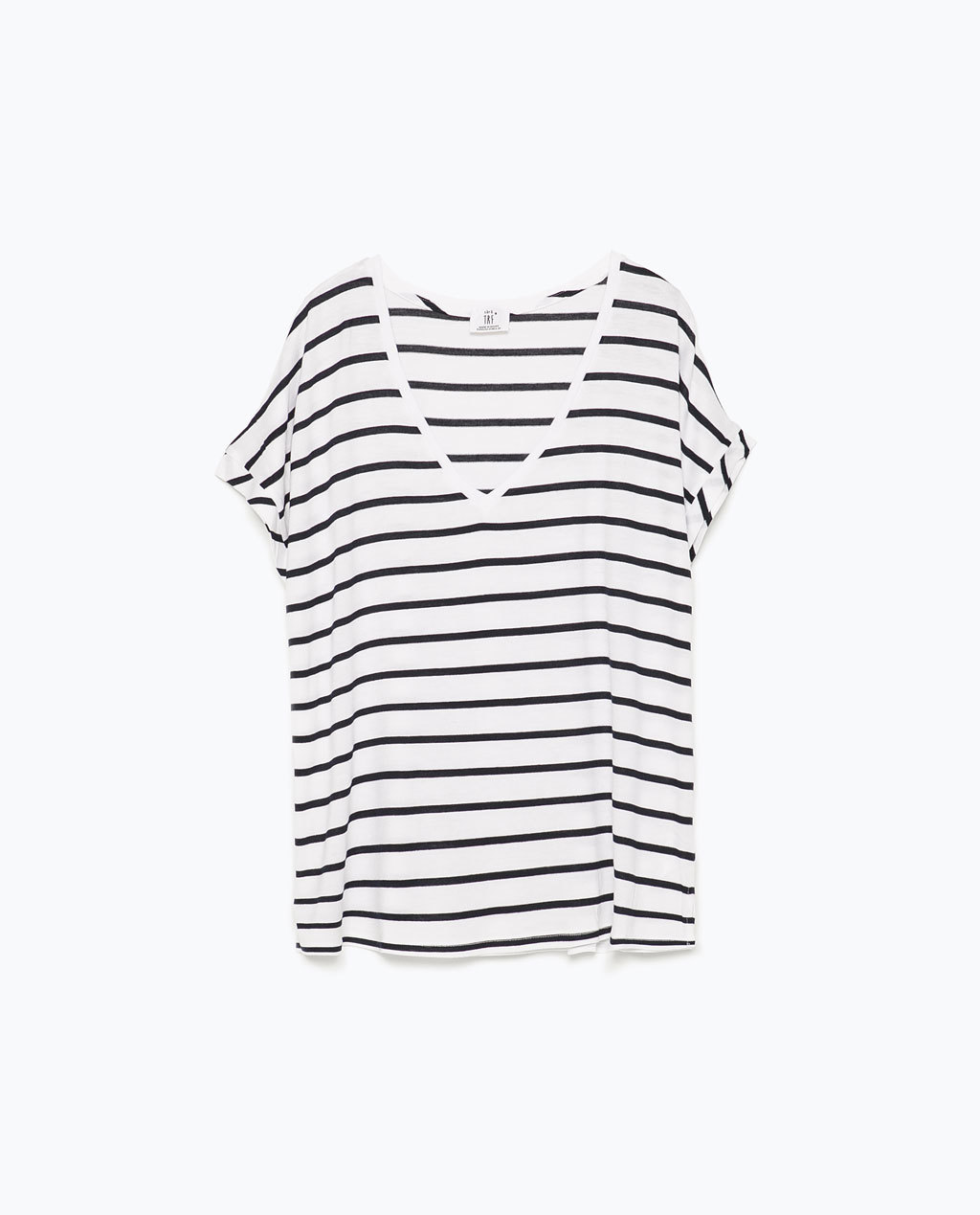 Square Cut T Shirt - pattern: horizontal stripes; style: t-shirt; secondary colour: white; predominant colour: black; occasions: casual, holiday; length: standard; fit: loose; sleeve length: short sleeve; sleeve style: standard; neckline: low square neck; pattern type: fabric; texture group: jersey - stretchy/drapey; season: s/s 2015; wardrobe: basic