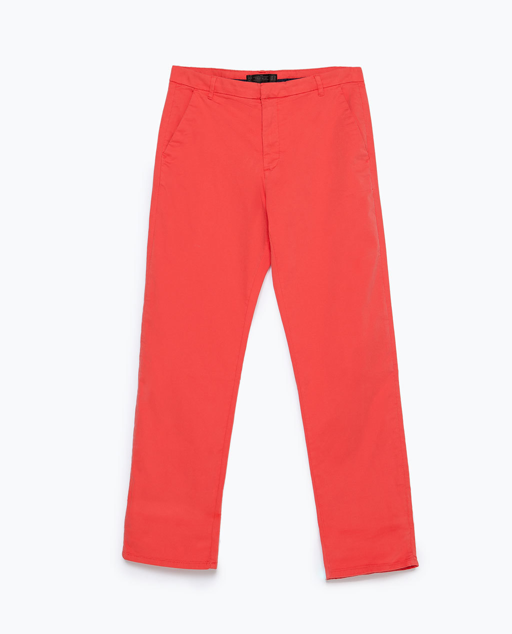 Straight Cut Trousers - pattern: plain; waist: mid/regular rise; predominant colour: bright orange; occasions: casual, creative work; length: calf length; fit: straight leg; pattern type: fabric; texture group: woven light midweight; style: standard; season: s/s 2015; wardrobe: highlight