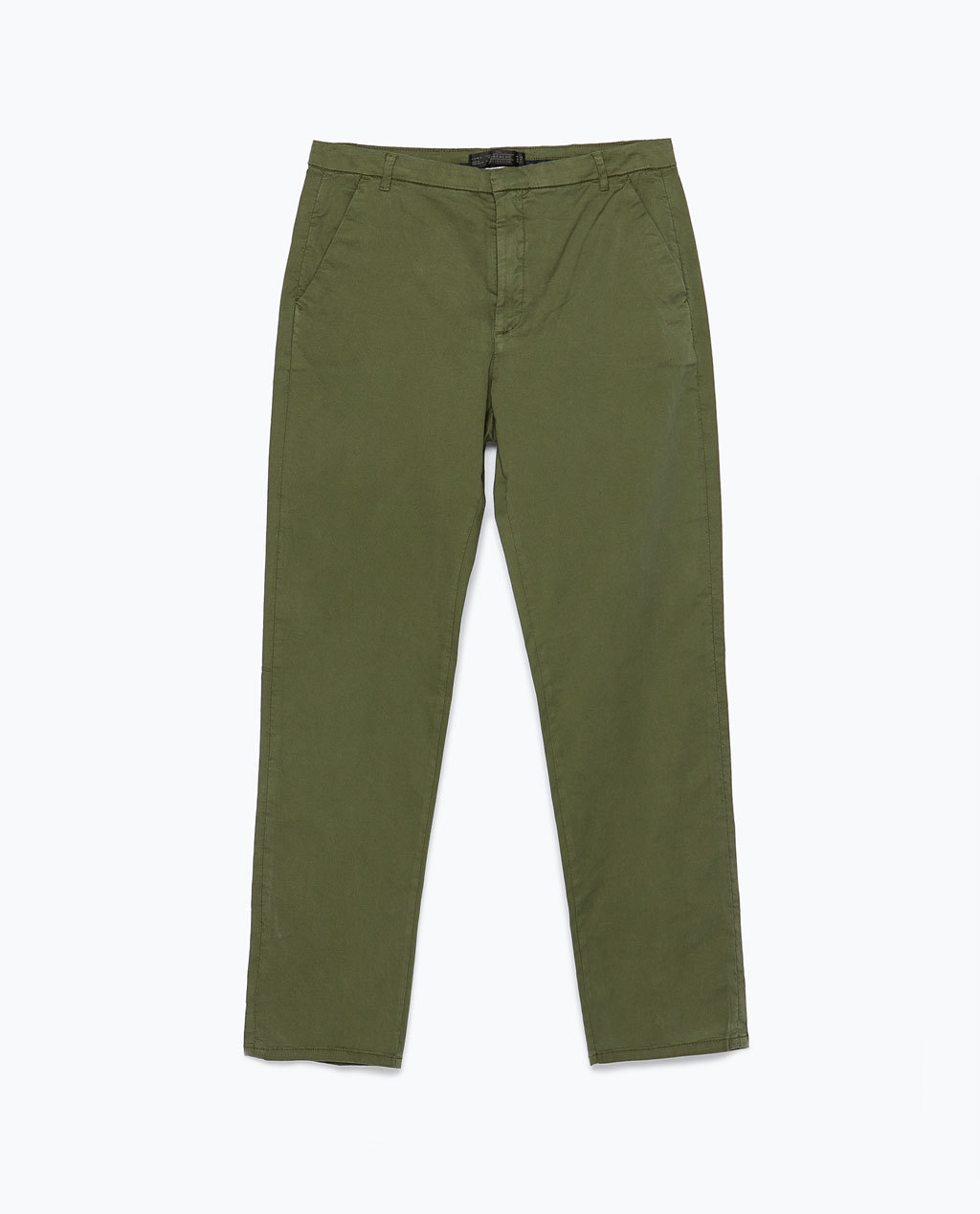Straight Cut Trousers - pattern: plain; waist: mid/regular rise; predominant colour: khaki; occasions: casual, creative work; length: calf length; fit: straight leg; pattern type: fabric; texture group: woven light midweight; style: standard; season: s/s 2015