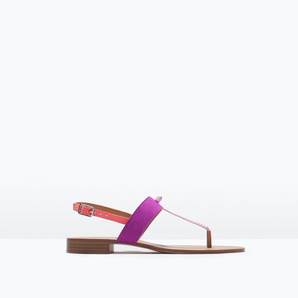 Three Tone Flat Sandal - predominant colour: magenta; secondary colour: bright orange; occasions: casual, holiday; material: faux leather; heel height: flat; heel: standard; toe: toe thongs; style: standard; finish: plain; pattern: colourblock; season: s/s 2015; wardrobe: highlight