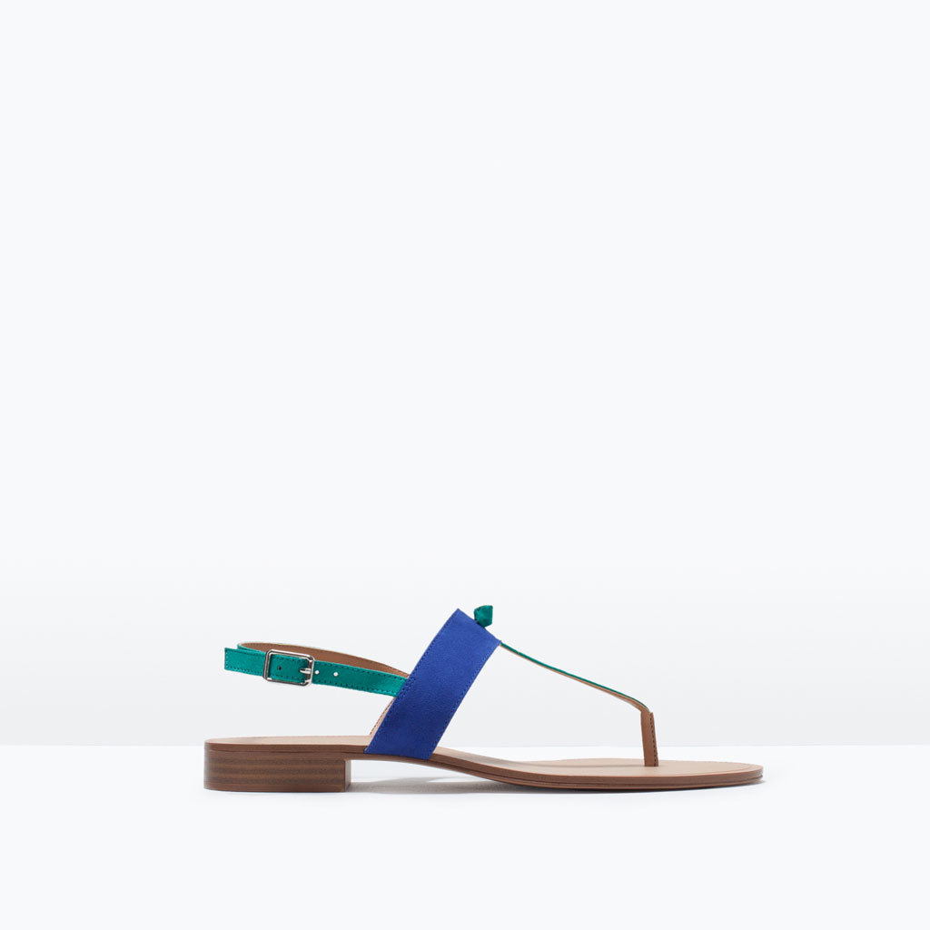 Three Tone Flat Sandal - predominant colour: royal blue; occasions: casual, holiday; material: faux leather; heel height: flat; heel: standard; toe: toe thongs; style: standard; finish: plain; pattern: colourblock; season: s/s 2015; wardrobe: highlight
