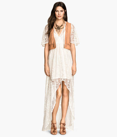 Long Lace Dress - neckline: low v-neck; sleeve style: angel/waterfall; fit: empire; pattern: plain; style: maxi dress; length: ankle length; predominant colour: ivory/cream; occasions: casual, evening; sleeve length: short sleeve; texture group: lace; pattern type: fabric; trends: seventies retro; season: s/s 2015; wardrobe: highlight