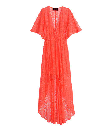 Long Lace Dress - neckline: v-neck; sleeve style: angel/waterfall; fit: empire; pattern: plain; style: maxi dress; length: ankle length; predominant colour: bright orange; occasions: casual, evening; hip detail: subtle/flattering hip detail; sleeve length: short sleeve; texture group: lace; pattern type: fabric; trends: seventies retro; season: s/s 2015; wardrobe: highlight