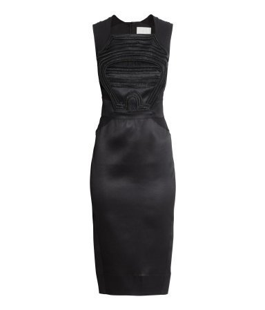 Sequined Dress - style: shift; neckline: high square neck; fit: tailored/fitted; pattern: plain; sleeve style: sleeveless; predominant colour: black; occasions: evening, occasion; length: on the knee; fibres: polyester/polyamide - 100%; sleeve length: sleeveless; texture group: structured shiny - satin/tafetta/silk etc.; pattern type: fabric; embellishment: applique; season: s/s 2015; wardrobe: event; embellishment location: top