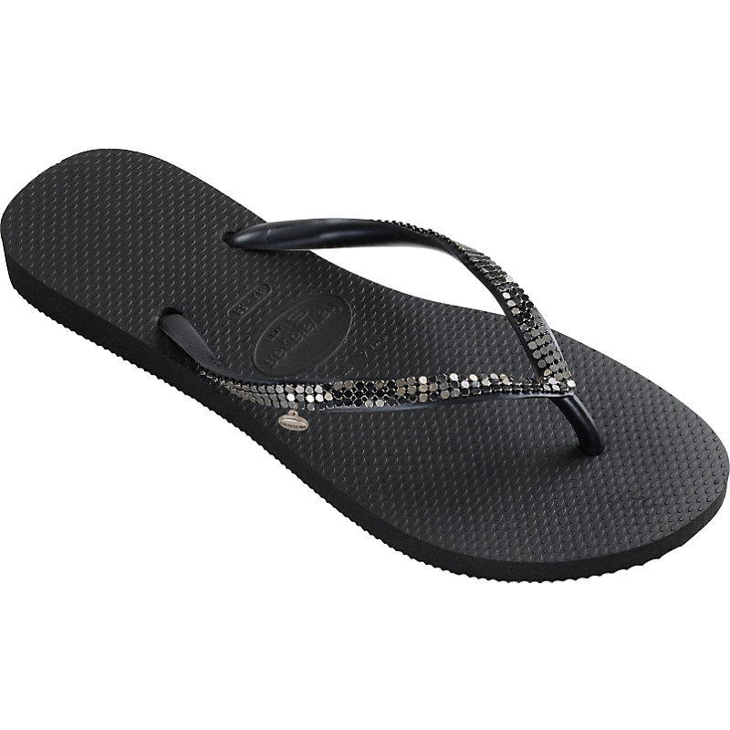 Embellished Flip Flops, Women's, 3/4, Black/Dark Grey - predominant colour: black; occasions: casual, holiday; material: plastic/rubber; heel height: flat; embellishment: sequins; heel: standard; toe: toe thongs; style: flip flops; finish: metallic; pattern: plain; season: s/s 2015; wardrobe: highlight