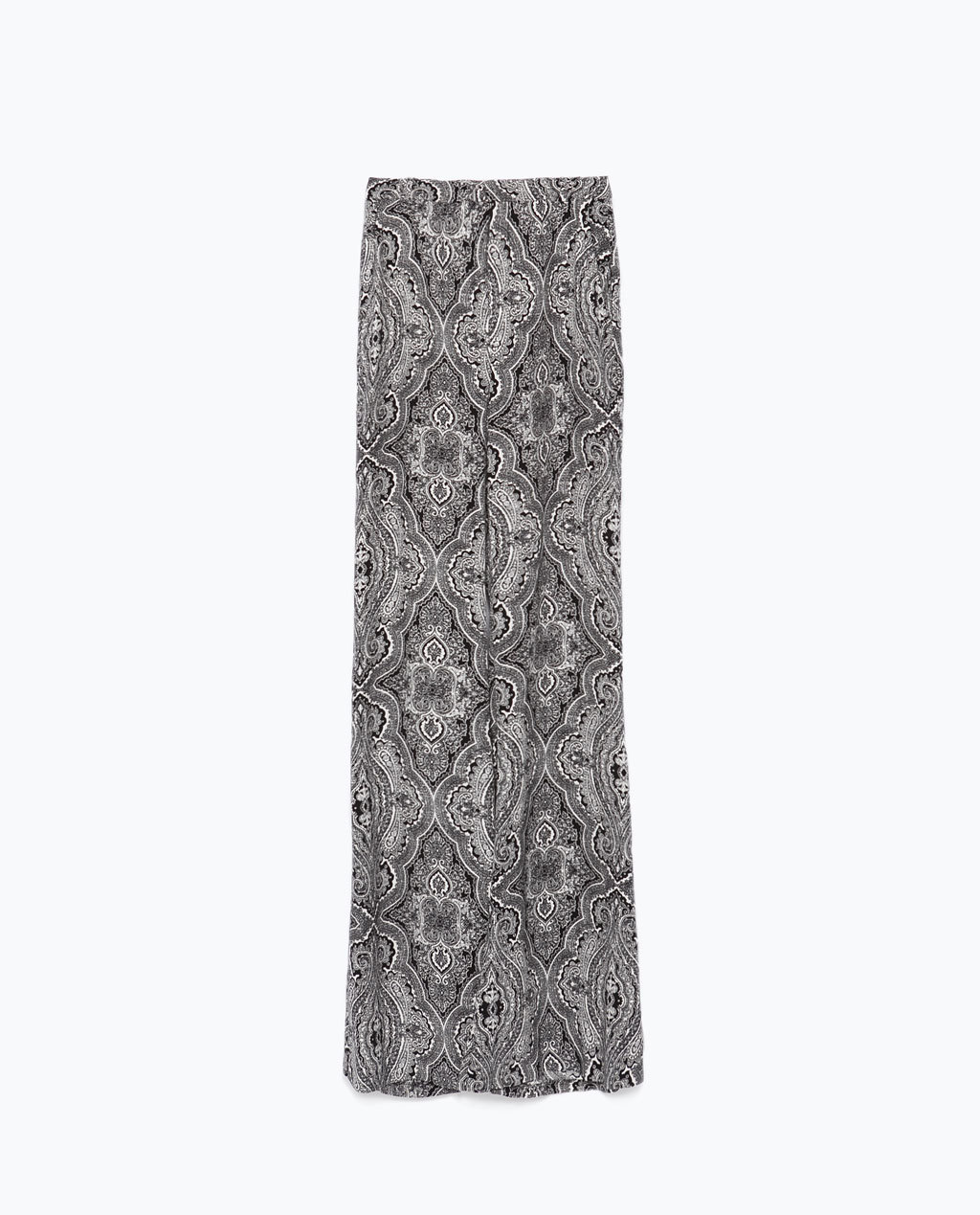 High Waist Flared Trousers - length: standard; style: palazzo; waist: high rise; pocket detail: pockets at the sides; predominant colour: mid grey; secondary colour: black; occasions: casual; fibres: viscose/rayon - 100%; fit: wide leg; pattern type: fabric; pattern: patterned/print; texture group: woven light midweight; season: s/s 2015; pattern size: standard (bottom); wardrobe: highlight