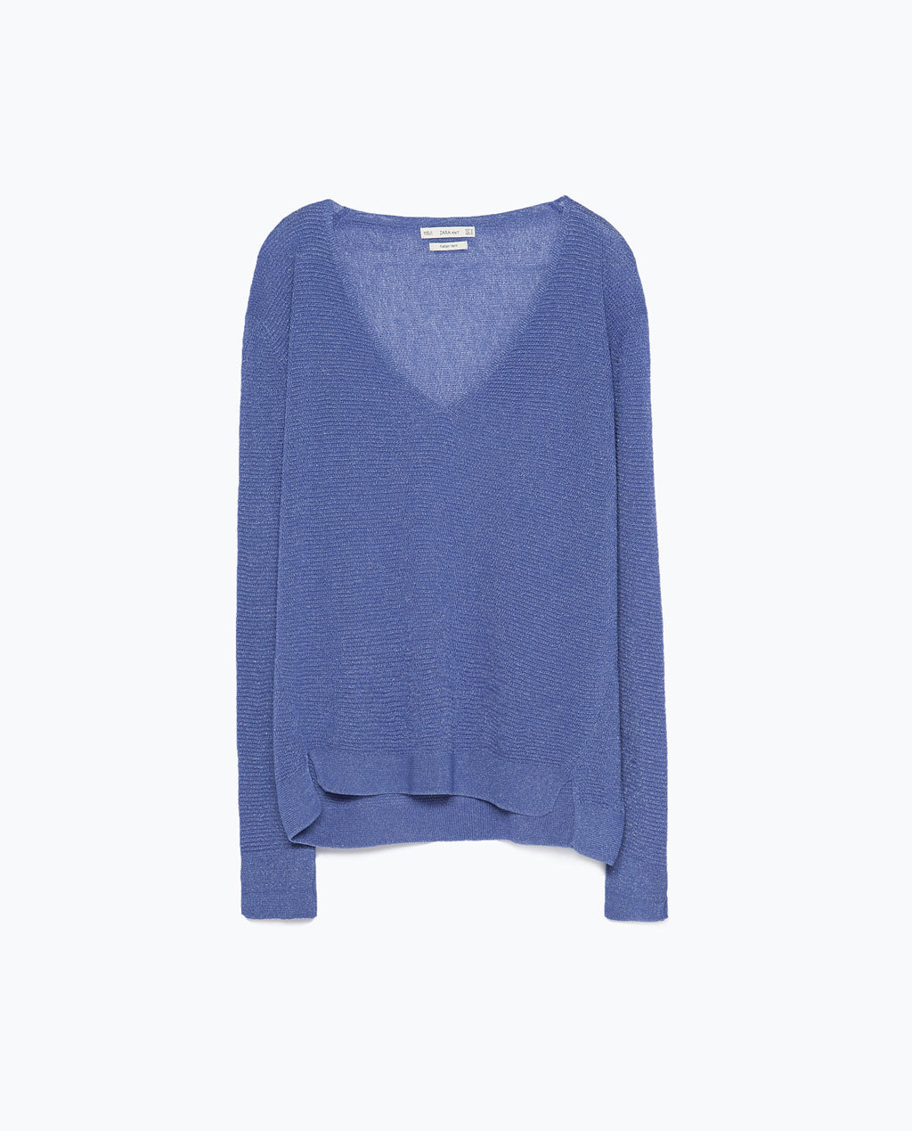 V Neck Jumper - neckline: low v-neck; pattern: plain; length: below the bottom; style: standard; predominant colour: diva blue; occasions: casual; fit: loose; sleeve length: long sleeve; sleeve style: standard; texture group: knits/crochet; pattern type: knitted - other; fibres: viscose/rayon - mix; season: s/s 2015; wardrobe: highlight