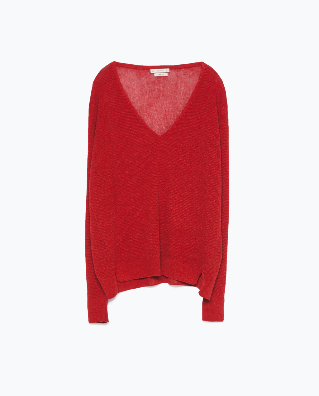 V Neck Jumper - neckline: low v-neck; pattern: plain; length: below the bottom; style: standard; predominant colour: true red; occasions: casual; fit: loose; sleeve length: long sleeve; sleeve style: standard; texture group: knits/crochet; pattern type: fabric; fibres: viscose/rayon - mix; season: s/s 2015; wardrobe: highlight