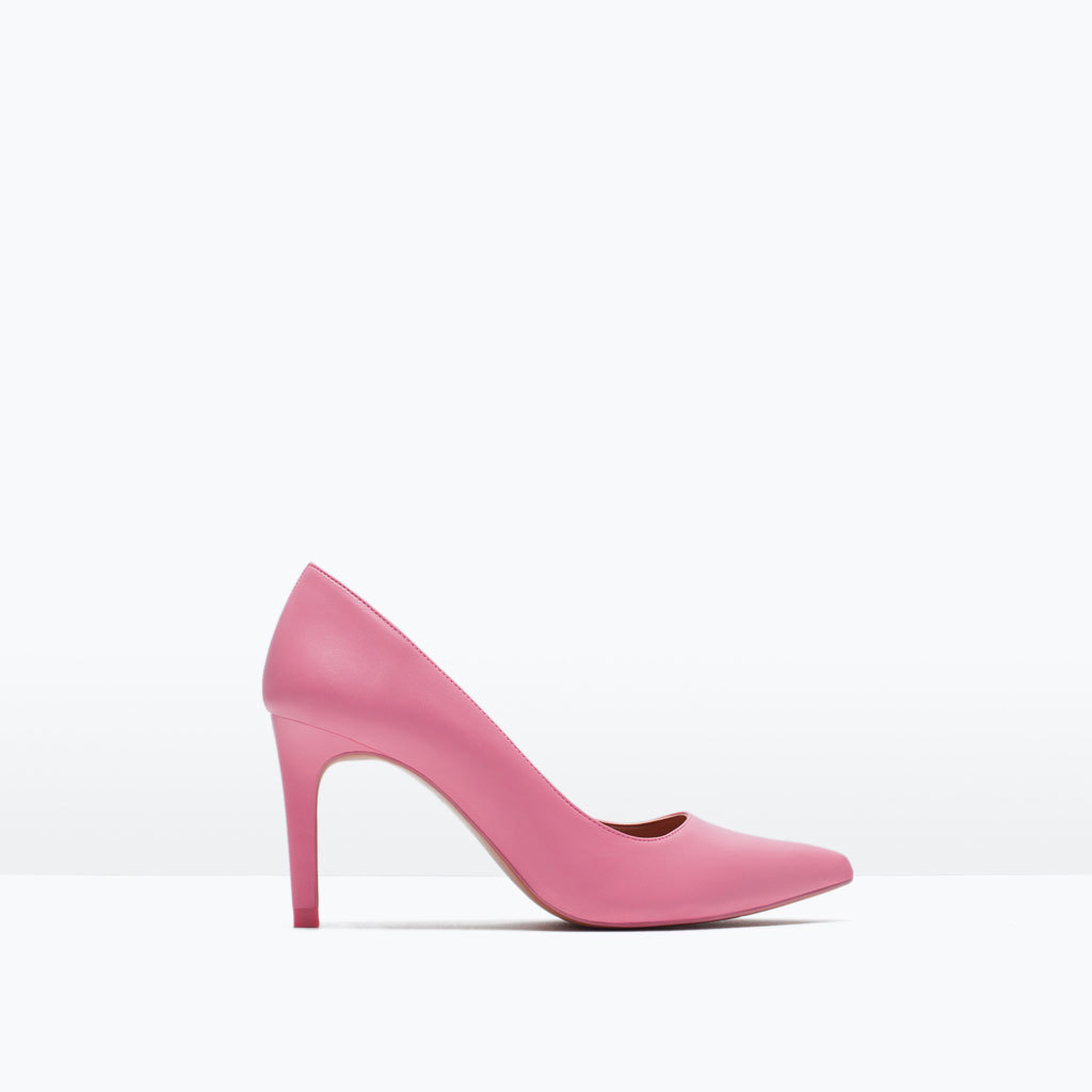 Mid Height Court Shoe - predominant colour: pink; occasions: evening, occasion, creative work; material: faux leather; heel height: high; heel: stiletto; toe: pointed toe; style: courts; finish: plain; pattern: plain; season: s/s 2015