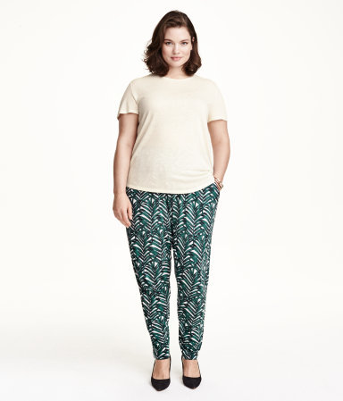 + Jersey Trousers - length: standard; waist detail: elasticated waist; pocket detail: pockets at the sides; waist: mid/regular rise; predominant colour: white; secondary colour: teal; occasions: casual; fibres: viscose/rayon - 100%; fit: baggy; pattern type: fabric; pattern: patterned/print; texture group: jersey - stretchy/drapey; style: standard; season: s/s 2015; pattern size: standard (bottom); multicoloured: multicoloured; wardrobe: highlight