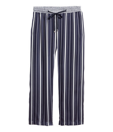 + Wide Trousers - length: standard; pattern: vertical stripes; pocket detail: pockets at the sides; waist detail: belted waist/tie at waist/drawstring; waist: mid/regular rise; predominant colour: navy; secondary colour: navy; occasions: casual; fibres: polyester/polyamide - 100%; fit: wide leg; pattern type: fabric; texture group: woven light midweight; style: standard; season: s/s 2015; pattern size: standard (bottom); multicoloured: multicoloured; wardrobe: highlight