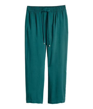 + Wide Trousers - length: standard; pattern: plain; style: palazzo; pocket detail: pockets at the sides; waist detail: belted waist/tie at waist/drawstring; waist: mid/regular rise; predominant colour: teal; occasions: casual; fibres: polyester/polyamide - 100%; fit: wide leg; texture group: woven light midweight; season: s/s 2015; wardrobe: highlight