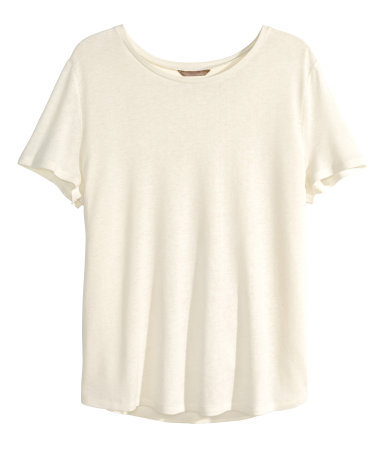 + Top In A Linen Blend - neckline: round neck; pattern: plain; bust detail: subtle bust detail; predominant colour: white; occasions: casual; length: standard; style: top; fibres: linen - mix; fit: loose; sleeve length: short sleeve; sleeve style: standard; texture group: linen; pattern type: fabric; season: s/s 2015; wardrobe: basic