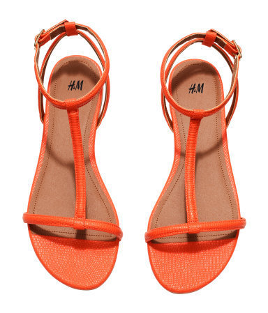 Strappy Sandals - predominant colour: bright orange; occasions: casual, holiday; material: faux leather; heel height: flat; ankle detail: ankle strap; heel: standard; toe: open toe/peeptoe; style: strappy; finish: plain; pattern: plain; season: s/s 2015; wardrobe: highlight