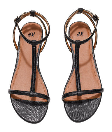 Strappy Sandals - predominant colour: black; occasions: casual, holiday, creative work; material: faux leather; heel height: flat; ankle detail: ankle strap; heel: standard; toe: open toe/peeptoe; style: strappy; finish: plain; pattern: plain; season: s/s 2015