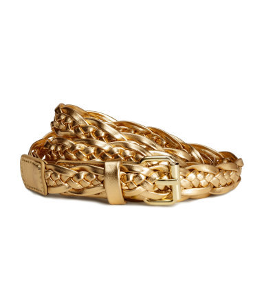 Braided Belt - predominant colour: gold; occasions: casual, evening, occasion; type of pattern: standard; style: plaited/woven; size: standard; worn on: hips; material: faux leather; pattern: plain; finish: metallic; season: s/s 2015