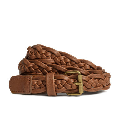Braided Belt - predominant colour: tan; occasions: casual, work, creative work; type of pattern: standard; style: plaited/woven; size: standard; worn on: hips; material: faux leather; pattern: plain; finish: plain; season: s/s 2015