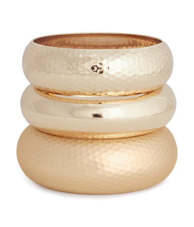 3 Pack Bangles - predominant colour: gold; occasions: casual, evening, occasion; size: large/oversized; material: chain/metal; finish: metallic; season: s/s 2015; style: multi bangle; wardrobe: highlight