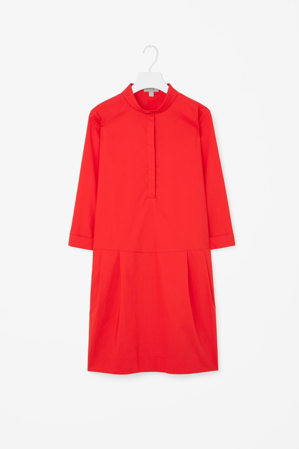 Cotton Shirt Dress - style: shift; length: mid thigh; pattern: plain; predominant colour: true red; occasions: casual, evening, creative work; fit: straight cut; neckline: collarstand; fibres: cotton - 100%; sleeve length: long sleeve; sleeve style: standard; texture group: cotton feel fabrics; pattern type: fabric; season: s/s 2015