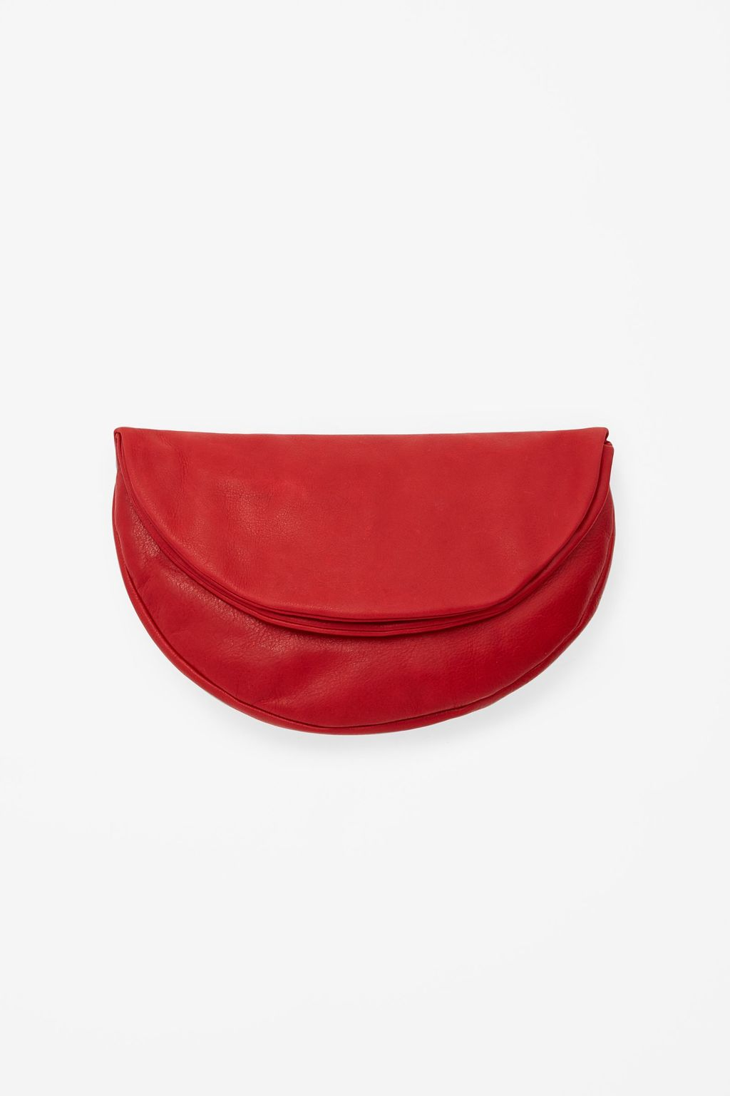Foldover Circle Clutch - occasions: evening, occasion; style: clutch; length: hand carry; size: standard; material: leather; pattern: plain; finish: plain; predominant colour: raspberry; season: s/s 2015; wardrobe: event